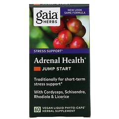 Gaia Herbs, 腎上腺健康,Jump Start(馬上開始),60粒素食液體植物膠囊