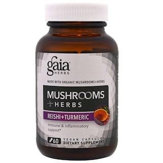 Gaia Herbs, 蘑菇 + 草藥,靈芝 + 薑黃,60粒素食膠囊