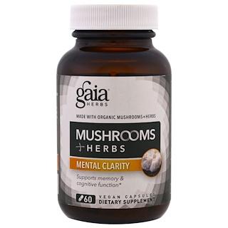 Gaia Herbs, 蘑菇 + 草藥,頭腦清晰,60粒素食膠囊
