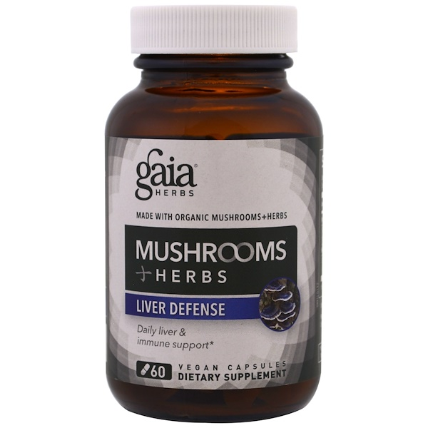Gaia Herbs, キノコ + ハーブ, 肝臓の防御g , 60植物カプセル (Discontinued Item)