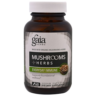 Gaia Herbs, 蘑菇 + 草藥,每日抵抗,60粒素食膠囊