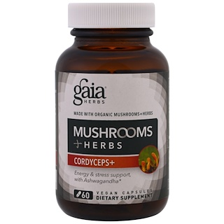 Gaia Herbs, Mushrooms + Herbs, Cordyceps , 60 Veggie Caps