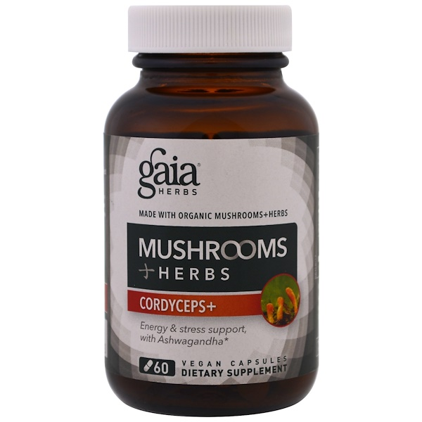 Gaia Herbs, Mushrooms + Herbs, Cordyceps , 60 Veggie Caps (Discontinued Item)