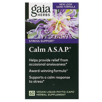 Купить Gaia Herbs Calm A.S.A.P., 60 Vegan Liquid Phyto-Caps