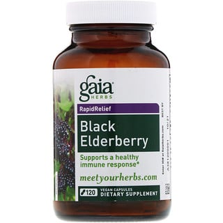 Gaia Herbs, Black Elderberry, 120 Vegan Capsules