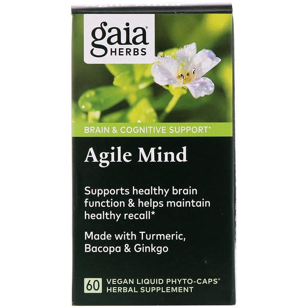 Gaia Herbs, Agile Mind, 60 Vegan Liquid Phyto-Caps