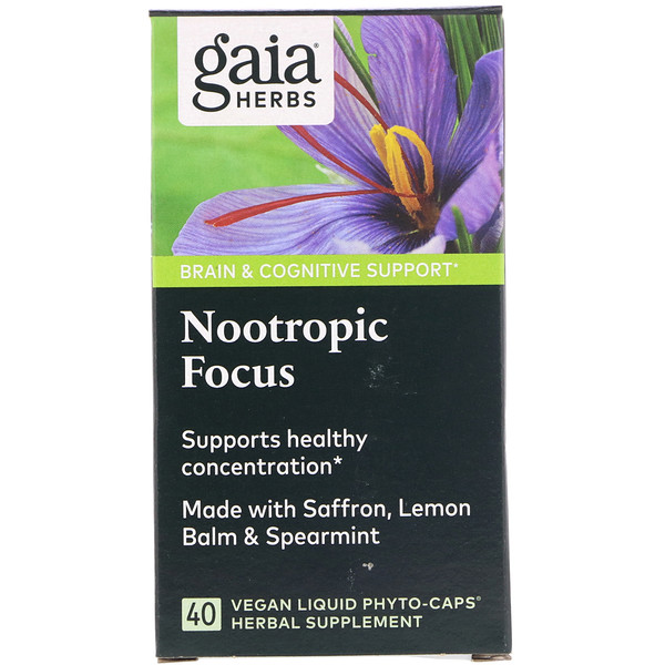 Gaia Herbs, Nootropic Focus, 60 Vegan Liquid Phyto-Caps