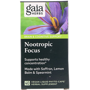 Gaia Herbs, Nootropic Focus, 60 Vegan Liquid Phyto-Caps'