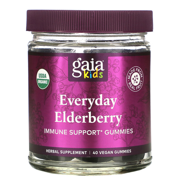 Gaia Herbs, Kids, Everyday Elderberry Immune Support Gummies, 40 Vegan Gummies