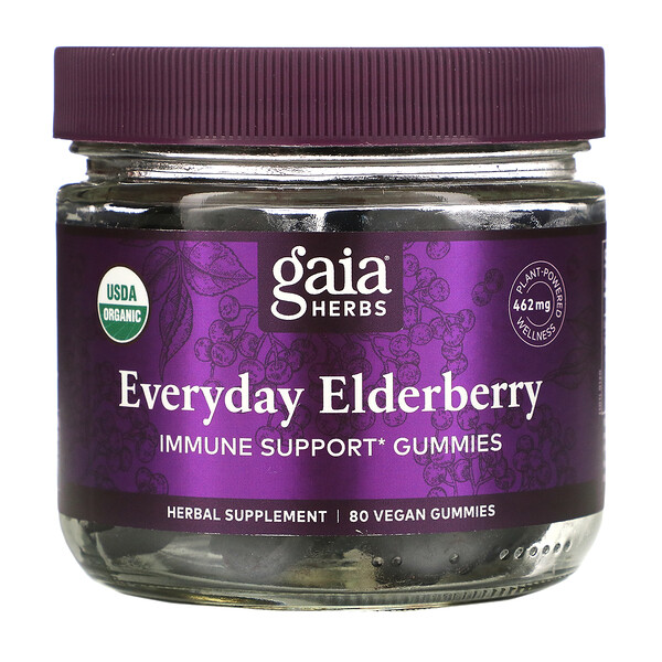Gaia Herbs, Everyday Elderberry  Immune Support Gummies, 80 Vegan Gummies