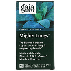 Gaia Herbs, Mighty Lungs,60 粒全素液體 Phyto-Caps 膠囊