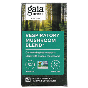 Gaia Herbs, Respiratory Mushroom Blend, 40 Vegan Capsules
