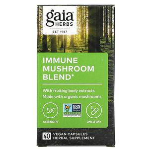 Gaia Herbs, 機體抵抗蘑菇混合物,40 粒全素膠囊