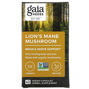 Gaia Herbs, 猴頭菇,40 粒全素膠囊