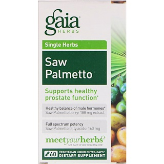 Gaia Herbs, Saw Palmetto, 60 Vegetarian Liquid Phyto-Caps