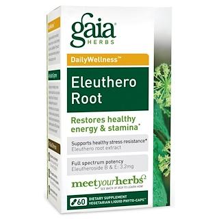 Gaia Herbs, DailyWellness、 エゾウコギの根、 Vegetarian Liquid Phyto-Caps(菜食主義液体植物性カプセル)、60錠