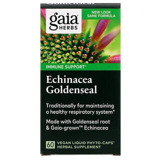 Gaia Herbs, эхинацея и желтокорень, 60 веганских жидких фито-капсул