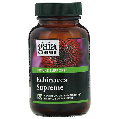 Купить Gaia Herbs Echinacea Supreme, 60 вегетарианских фито-капсул с жидкостью