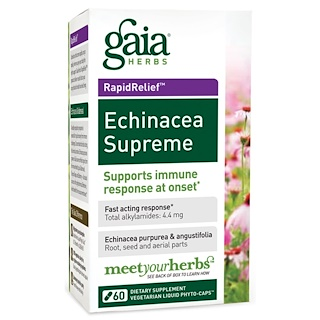 Gaia Herbs, エキナシア・スプリーム、60液体カプセル
