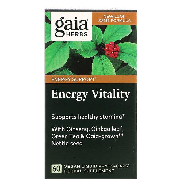 Gaia Herbs, エネルギーバイタリティー、液状ヴィーガンPhyto-Caps(フィトキャップ)60粒