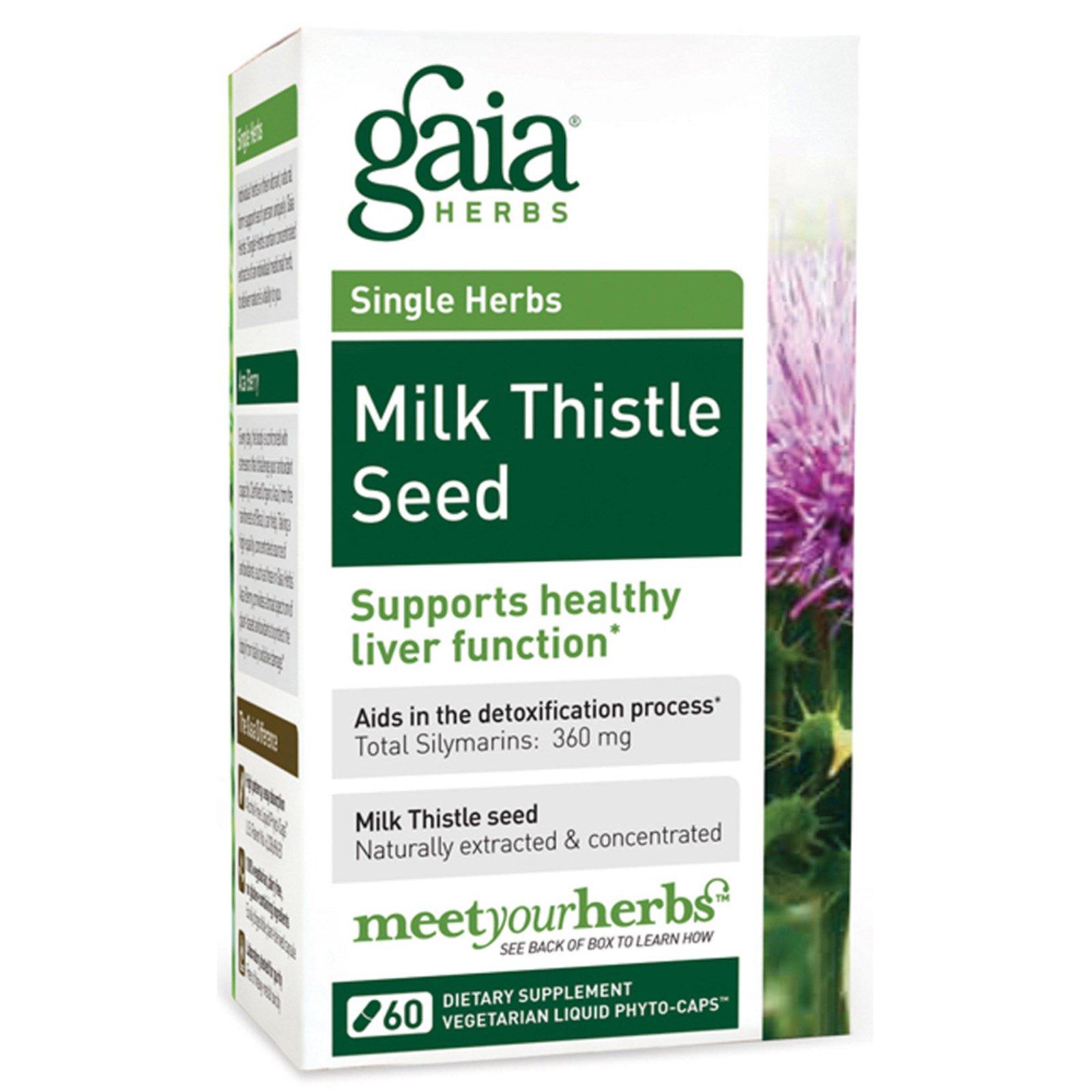 Gaia Herbs, Молоко из семени чертополоха, 60 вегетарианских капсул