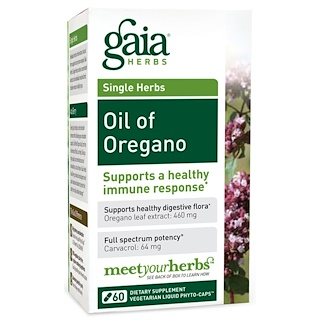 Gaia Herbs, Oil of Oregano, 60 Vegetarian Liquid Phyto-Caps