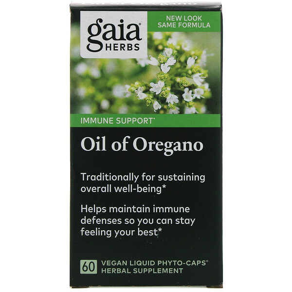 Gaia Herbs, Oil of Oregano, 60 Vegan Liquid Phyto-Caps