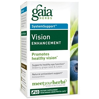 Gaia Herbs, SystemSupport, Vision Enhancement, 60 Vegetarian Liquid Phyto-Caps