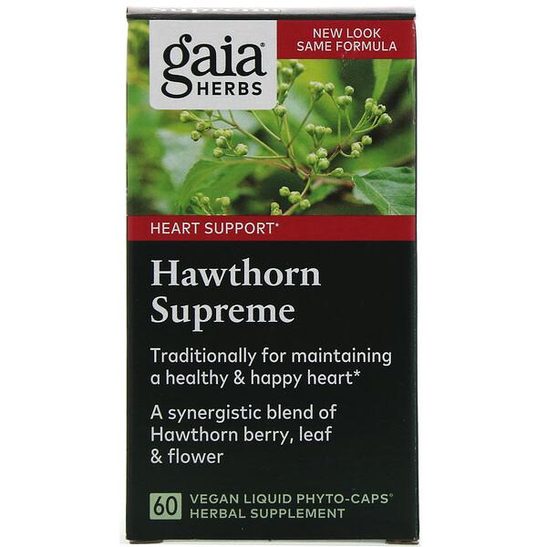 Gaia Herbs, هاوثورن سوپريم، 60 كبسولة فايتو نباتية سائلة