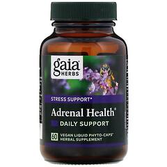 Gaia Herbs, 腎上腺健康,日常支持,60 粒全素液體素食膠囊
