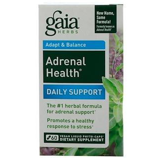 Gaia Herbs, Adrenal Health, Suporte Diário, 60 Fitocápsulas Líquidas Veganas