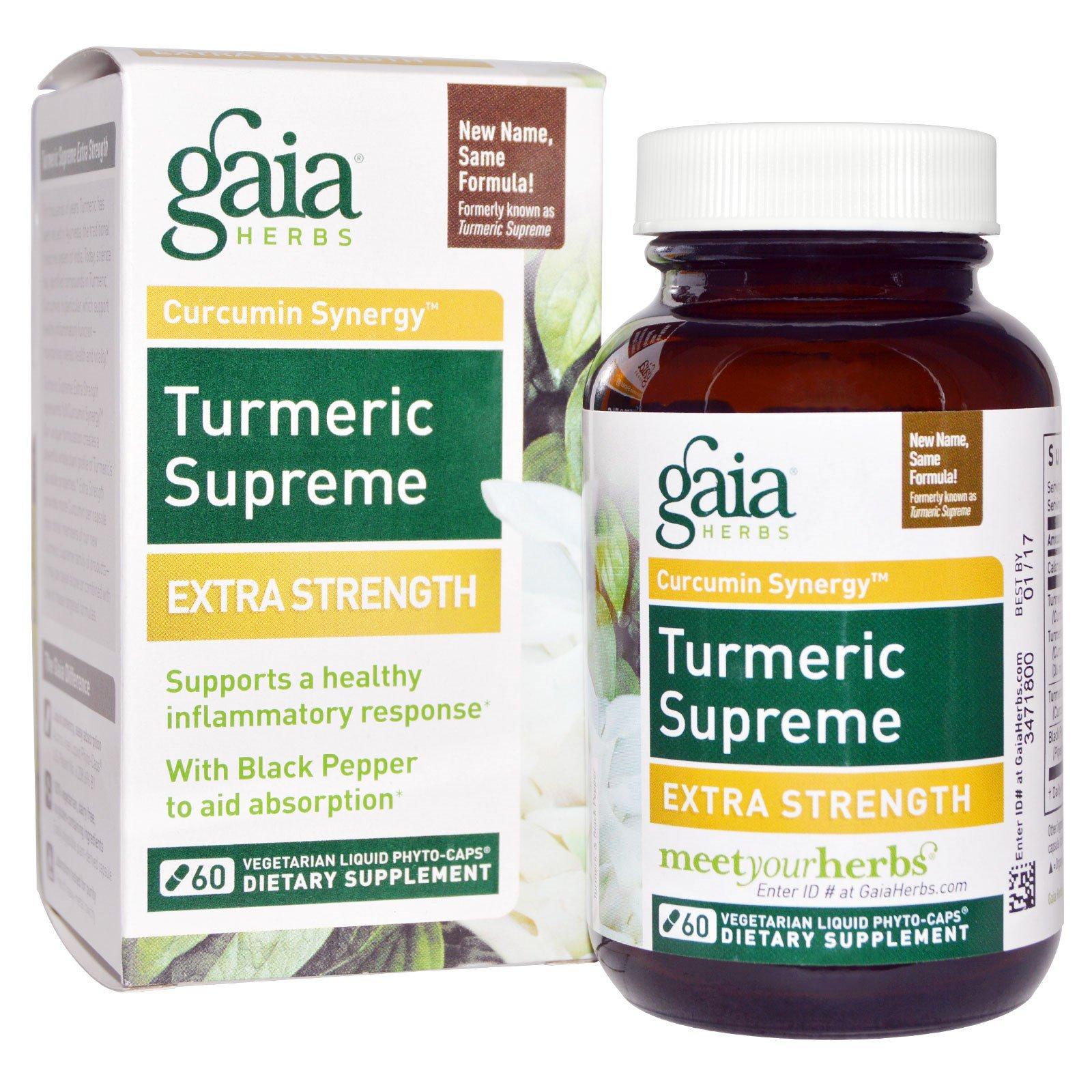 Gaia Herbs, Куркума Supreme, увеличение силы, 60 вегетарианских Phyto-Caps, заполненных жидкостью