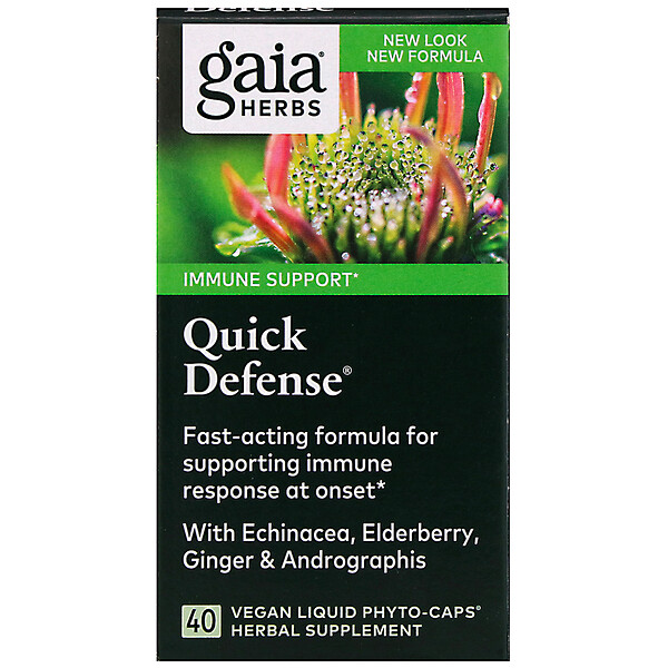 Gaia Herbs, Quick Defense, 40 веганских капсул Liquid Phyto-Caps