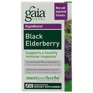 Gaia Herbs, Black Elderberry, 30 Vegan Capsules