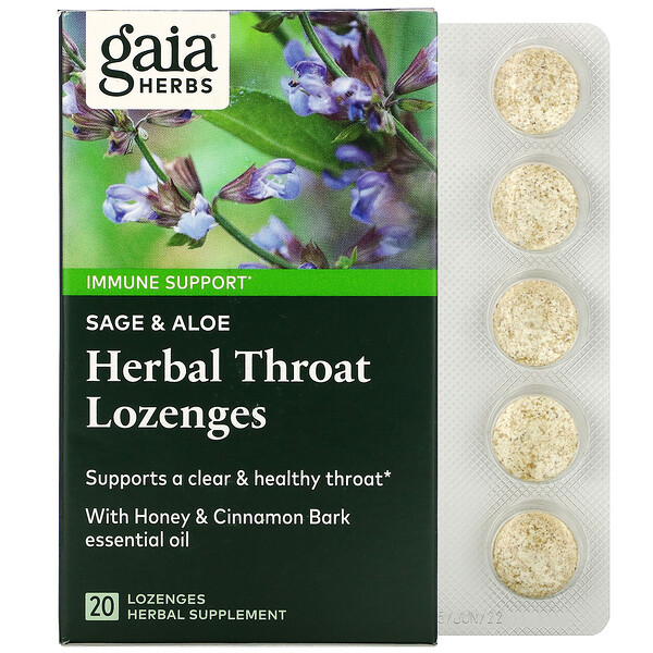 Herbal Throat Lozenges, Sage & Aloe, 20 Lozenges