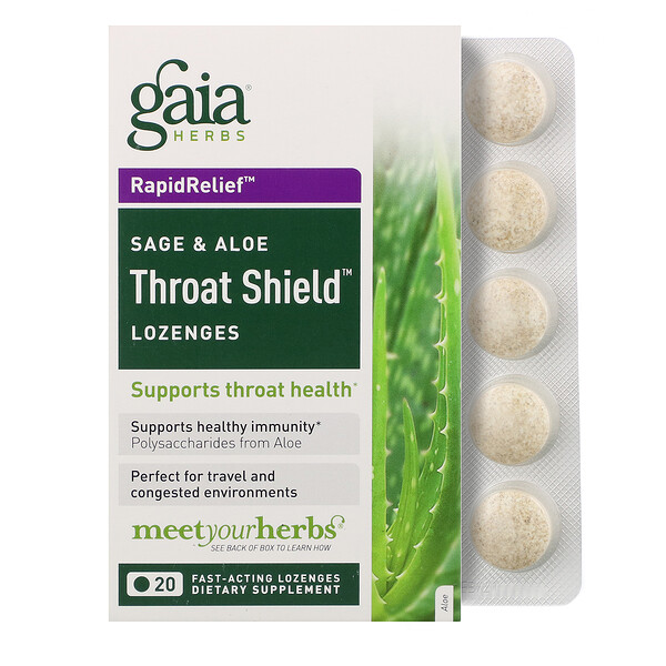 Gaia Herbs, Throat Shield Lozenges, Sage & Aloe, 20 Fast-Acting Lozenges