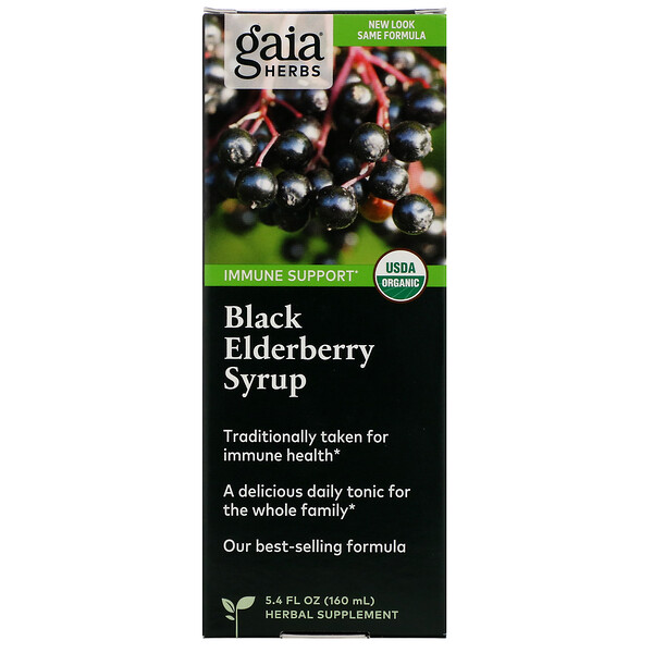 Gaia Herbs, Black Elderberry Syrup, 5.4 fl oz (160 ml)