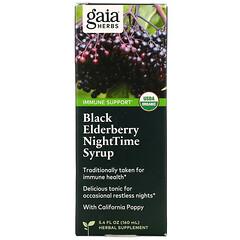 Gaia Herbs, 黑接骨木夜間糖漿,5.4 液量盎司(160 毫升)
