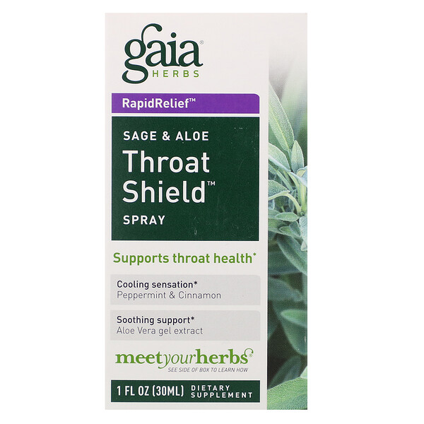 Gaia Herbs, Throat Shield Spray, Sage & Aloe, 30 ml