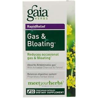 Gaia Herbs, كبسولات Gas & Bloating لتقليل انتفاخ المعدة بالغازات، 50 كبسولة نباتية