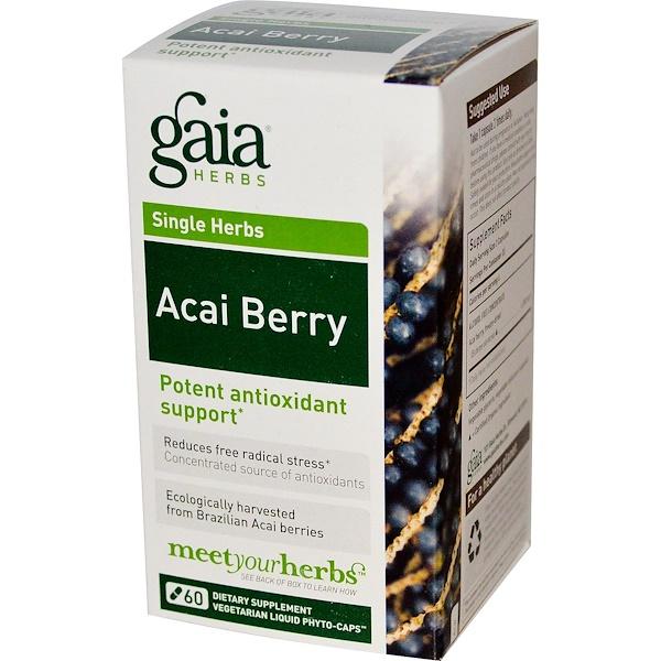 Gaia Herbs, Single Herbs, アサイベリー, ベジタリアン 液状植物性カプセル 60錠 (Discontinued Item)