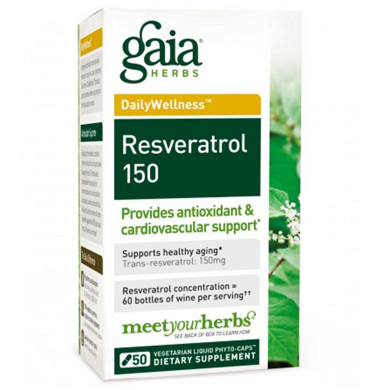 Gaia Herbs, Ресвератрол 150, 50 вегетарианских фитокапсул