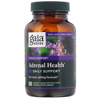 Gaia Herbs, Adrenal Health, Daily Support , 120 Vegan Liquid Phyto-Caps