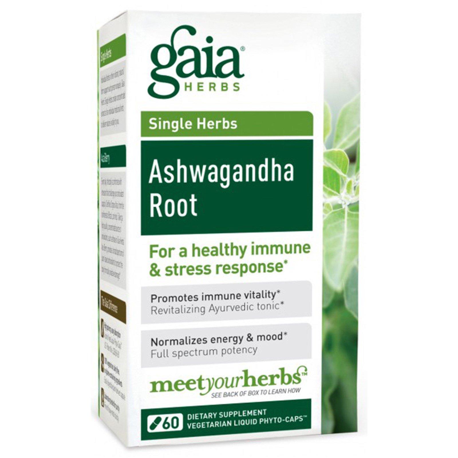 Gaia Herbs, シングルハーブ、アシュワガンダ・ルート、60ベジタリアンリキッドカプセル(腸溶性)