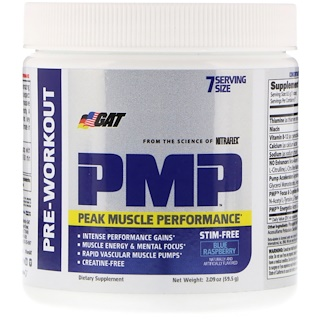 GAT, PMP, Pre-Workout, Peak Muscle Performance, Blue Raspberry, 2.09 oz (59.5 g)