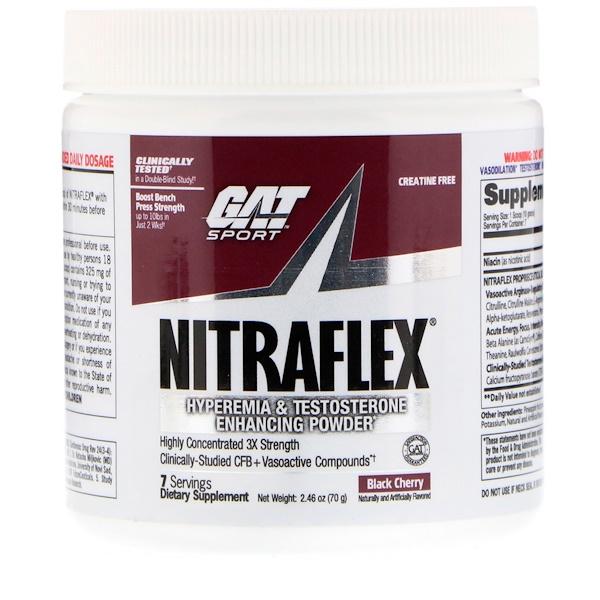 GAT, Nitraflex, черная вишня, 2,46 унц. (70 г) (Discontinued Item)