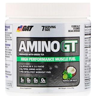 GAT, Amino GT, высокоэффективное топливо для мышц, тропический лайм и мохито, 91 г