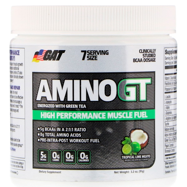 GAT, Amino GT, High Performance Muscle Fuel, Tropical Lime Mojito, 3.2 oz (91 g) (Discontinued Item)