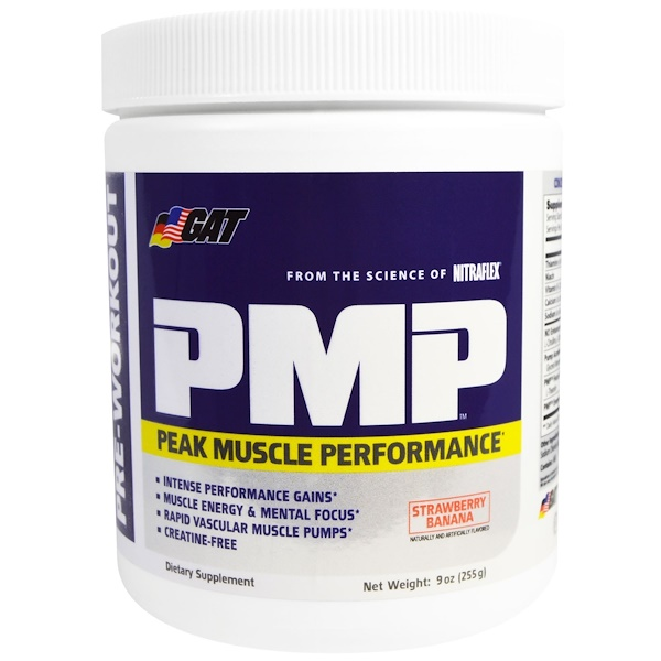 GAT, PMP, Pre-Workout, Peak Muscle Performance, Strawberry Banana, 9 oz (255 g) (Discontinued Item)