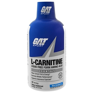 GAT, L-Carnitine, Liquid Free Form Amino Acid, Blue Raspberry, 16 oz (473 ml)